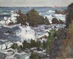 peinture de bord de mer peinture bretonne de rochers dans la houle tableau de bord de mer