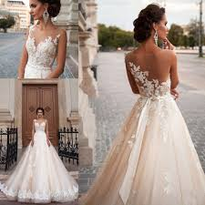 illusion neckline wedding dress discount vintage mila chagne princess wedding dresses