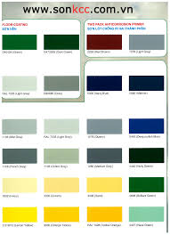 bảng màu sơn epoxy sơn công nghiệp sơn sắt thép kcc paint
