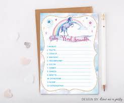 Free Printable Halloween Word Scramble by Unicorn Baby Shower Baby Word Scramble Unicorn Baby Shower