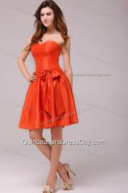 a line sweetheart sashes taffeta orange red dresses for dama 116 99