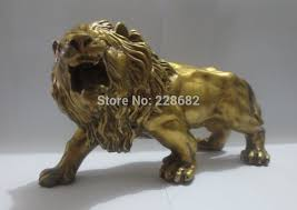 metal lion statue metal crafts collectable home decorations feng shui brass lion
