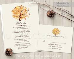 rustic fall wedding invitation set printable autumn oak tree