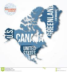 Map Of North America And Canada by Vector Detailed Map Of North America And Greenland With Borders