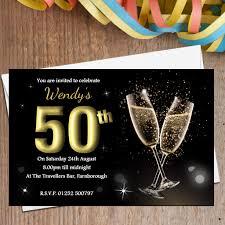Personalised Birthday Invitation Cards 10 Personalised Black U0026 Gold Champagne Birthday Party Invitations