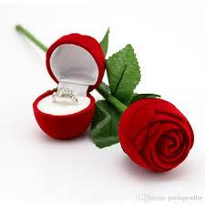red rose rings images Romantic red rose flower velvet wedding ring holder earrings jpg