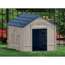 suncast deluxe dog house in taupe u0026 blue u0026 reviews wayfair