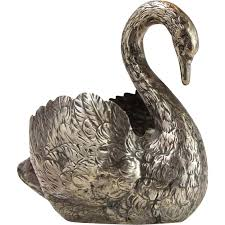 silver swan table ornament bowl hanau germany circa 1880 from