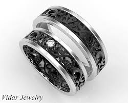 black wedding rings his and hers one of a designer matching wedding bands vidar jewelry
