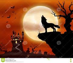 halloween night background with wolf howling castle and full moon