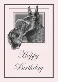 pencil drawing of scottish terrier scottie dog on birthday card