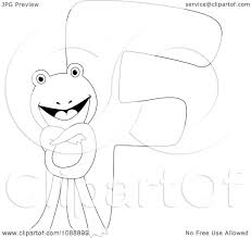 clipart outlined f is for frog coloring page royalty free vector