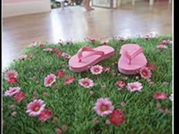 Garden Bedroom Decor Grass Mat With Pink Daisy Flowers For Fairy Garden Party Wedding