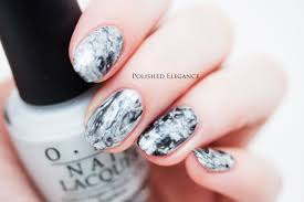 black and silver water marble nail art black gold water marble