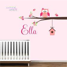 Nursery Name Wall Decals by Aliexpress Com Buy Owl Branch Birdhouse Custom Personalised Name