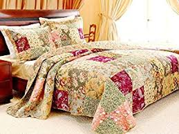 Patchwork Duvet Sets Amazon Com French Country Patchwork Quilted Bedspread Set