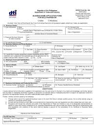 dti bn application form for sole proprietor form no 16a