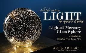 large lighted mercury glass sphere gazing