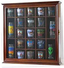 Kitchen Wall Cabinets With Glass Doors Amazon Com Shot Glass Display Case Wall Curio Cabinet Glass Door