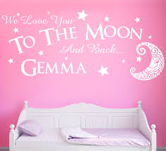 love you to the moon wall sticker personalised girls bedroom decal