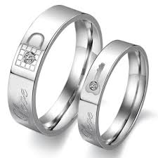 couple promise rings images Matching titanium wedding rings lock and key titanium steel couple jpg