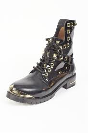 biker style boots black and gold biker style boots