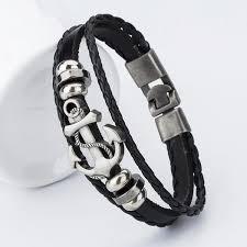 anchor leather bracelet man images 2017 new fashion charm leather anchor bracelets for men popular jpg
