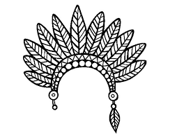 coloring pages of indian feathers indian feather crown head coloring page coloringcrew com