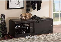 entryway storage bench shoe rack cabinet organizer sliding doors