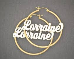 Name Hoop Earrings Sterling Silver Name Hoop Earrings