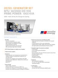 diesel generator set mtu 16v2000 ds1100 prime power