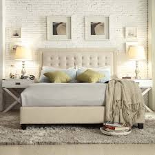Roma Tufted Wingback Headboard Taupe Fullqueen by Inspire Q Bellevista Beige Linen Button Tufted Square Low Profile
