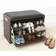 brown color small wood shoe holder bench with drawer shoe storage