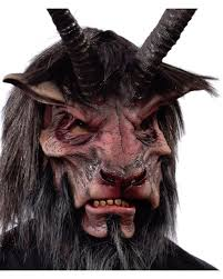 horned krampus mask with artificial fur as fabulous horror shop com