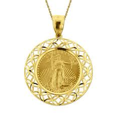 necklace pendant coin images 14k yellow gold 1 10 oz liberty dollar coin pendant necklace