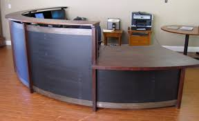 Cherry Wood Desk Curved Reception Desk Cherry Steel Black Stained Wood Eric Z