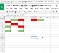 igoogledrive google spreadsheet sum of a colored cells in a range