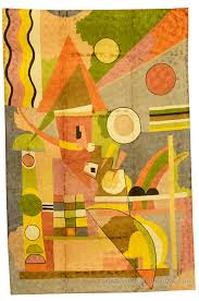 Green Modern Rug Kandinsky Colorful Composition Silk Modern Rug Wall