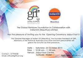 Invitation Card Of Opening Ceremony Invitation To Opening Ceremony Jaipur Foot Mauritius Camp 5