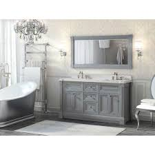 inch gray finish double sink bathroom vanity cabinet with mirror