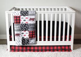 Woodland Nursery Bedding Set by Baby Bear Woodlands Crib Bedding Red Plaid Gray Black Trees