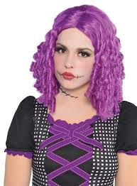 Rag Doll Halloween Costume Purple Rag Doll Wig Ladies Halloween Fancy Dress Costume