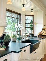matte stone farmhouse sink stone farm sink country kitchen with bay window inset cabinets flush