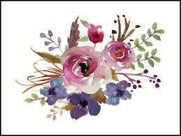 burgundy flowers burgundy blue watercolor flower bouquet prints by junkydotcom