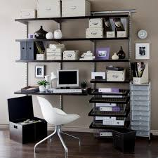 black wooden board shelves with desk with steel stand on white