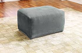 Stretch Ottoman Slipcover Sure Fit Sf45540 Stretch Pique Oversized Ottoman
