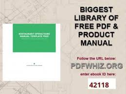 restaurant operations manual template free youtube
