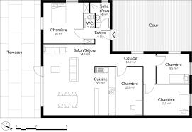 modele maison plain pied 3 chambres plan maison en l de plain pied avec 3 chambres ooreka