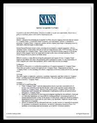 Sans Policy Templates acceptable use policy