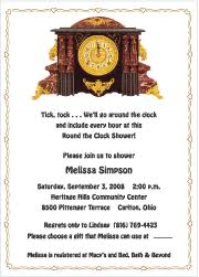 around the clock bridal shower around the clock bridal shower invitatinos